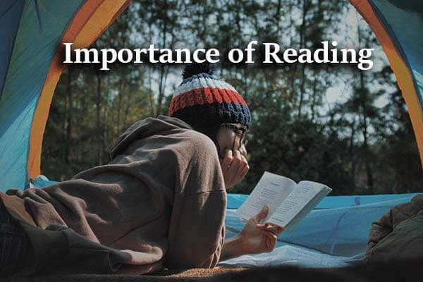 text: Importance of Reading, A girl reading a book