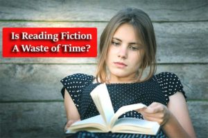A girl holding a book thinking 'Is reading fiction a waste of time?'