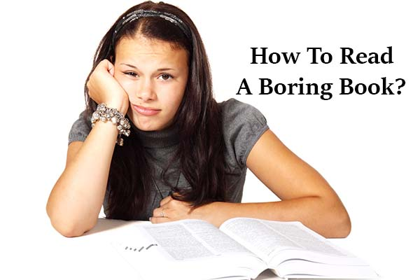 A girl wondering how to read a boring book
