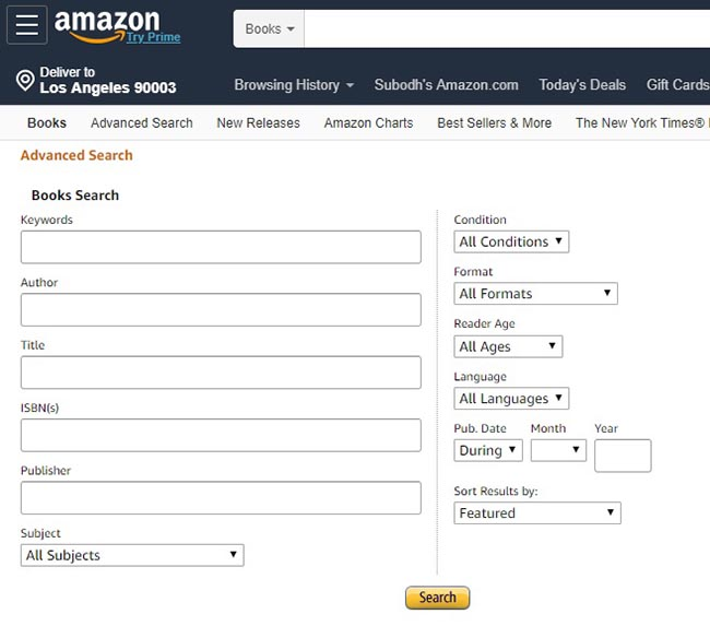 Amazon Advanced Search Page