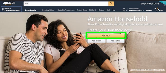 Amazon Househld Home Page