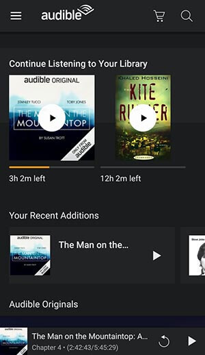 Screenshot of Audible App Home Screen