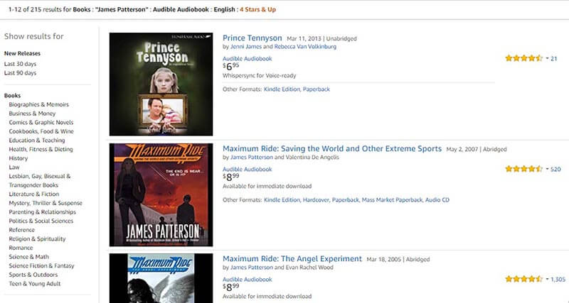 Filtered Search Results of Audible Books by Price