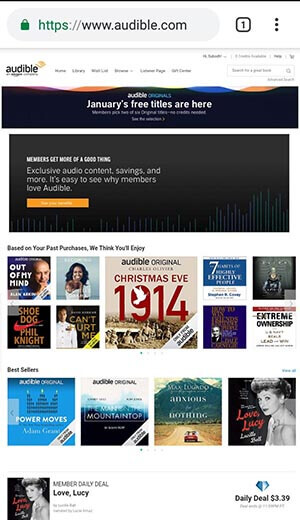Audible Full Site on Mobile, Screenshot