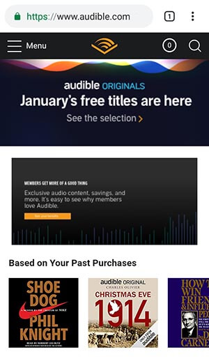 Screenshot of Audible Mobile Home Page