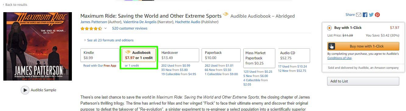 Audiobook Example Showing Price Less Than in Search