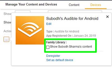 Family Library Check for Audible Books Sharing