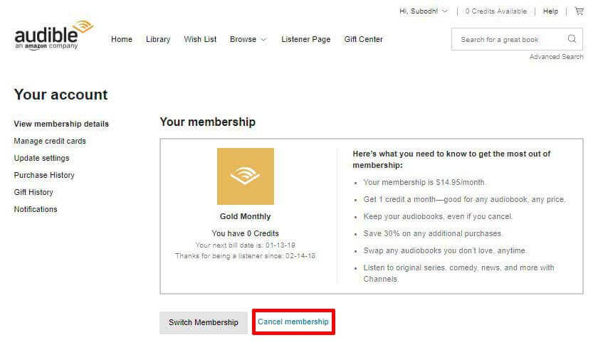 Membership Details With Cancel Option Highlighted