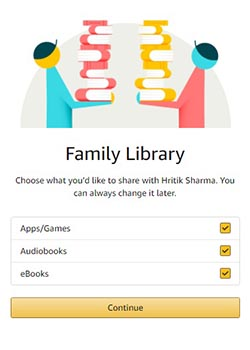 Sharing Options for Family Library