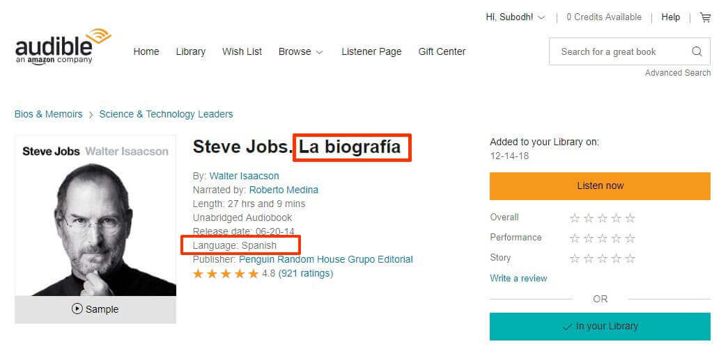 Spanish Version of the book 'Steve Jobs' Purchase Details