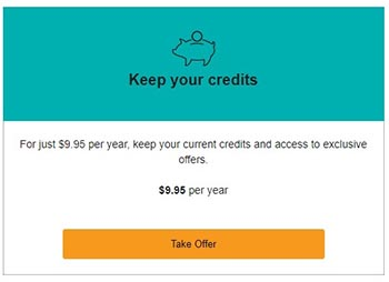 Audible $9.95 per year plan. Keep current Audible credits