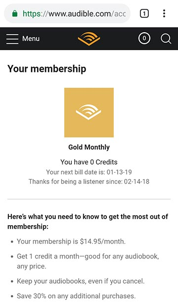 Audible Membership Cancel option on mobile site missing