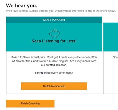 Audible Silver Membership Plan Screenshot