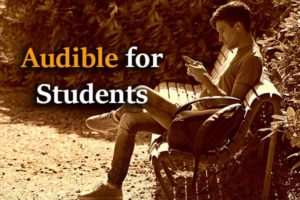 A student sitting on bench, Audible student membership plan.