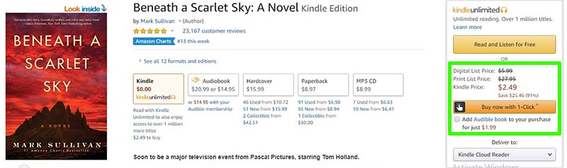 Audiobook 'Beneath a Scarlet Sky' Amazon Price