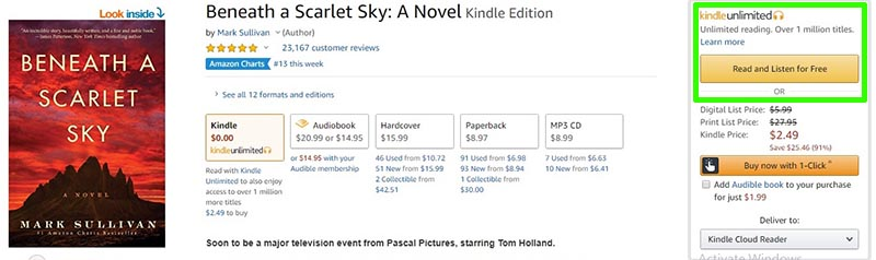 Audiobook 'Beneath a Scarlet Sky' Kindle Unlimited Offer