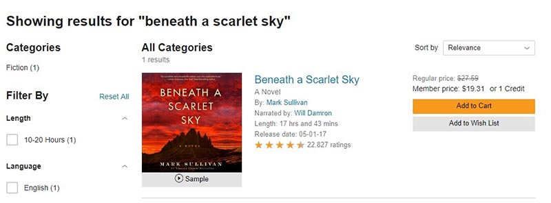 Audiobook 'Beneath a Scarlet Sky' price on Audible
