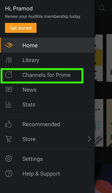 Channels for Prime on Audible App