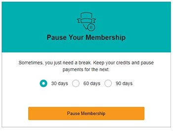 Pause Audible Membership offer screenshot