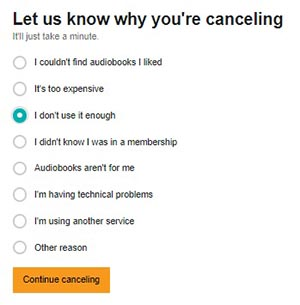 Reason for canceling - I don't use it enough
