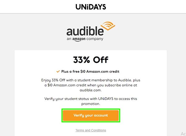 Unidays Audible Offer