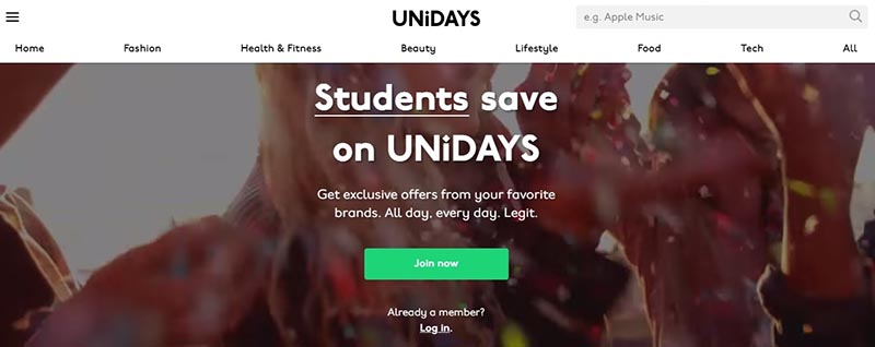 Unidays Home Page