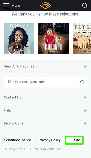 Audible 'Full Site' option for mobiles
