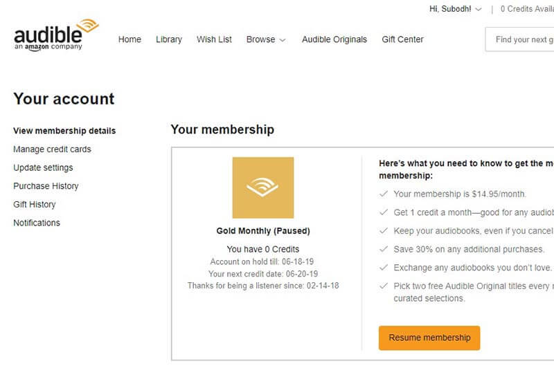 How to Pause Audible Membership? An Illustrated Guide 2019