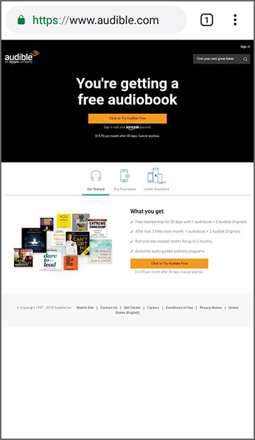 Audible desktop site homepage on mobile