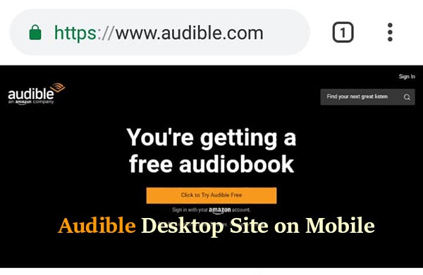 Audible desktop site on mobile