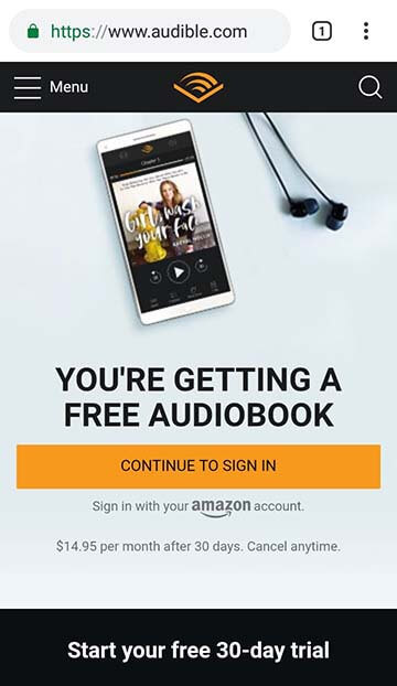 Audible mobile site on Android