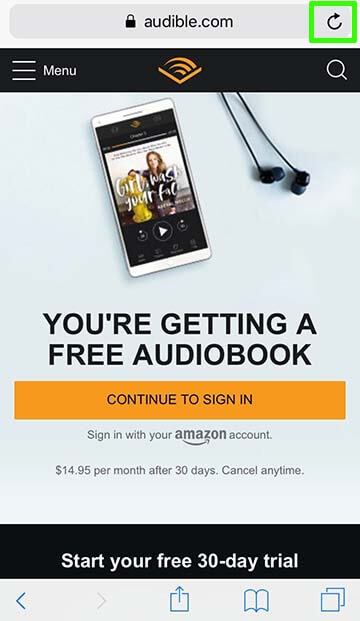 Audible mobile site on iPhone