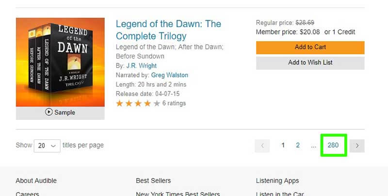 Last Page Audible Search Results