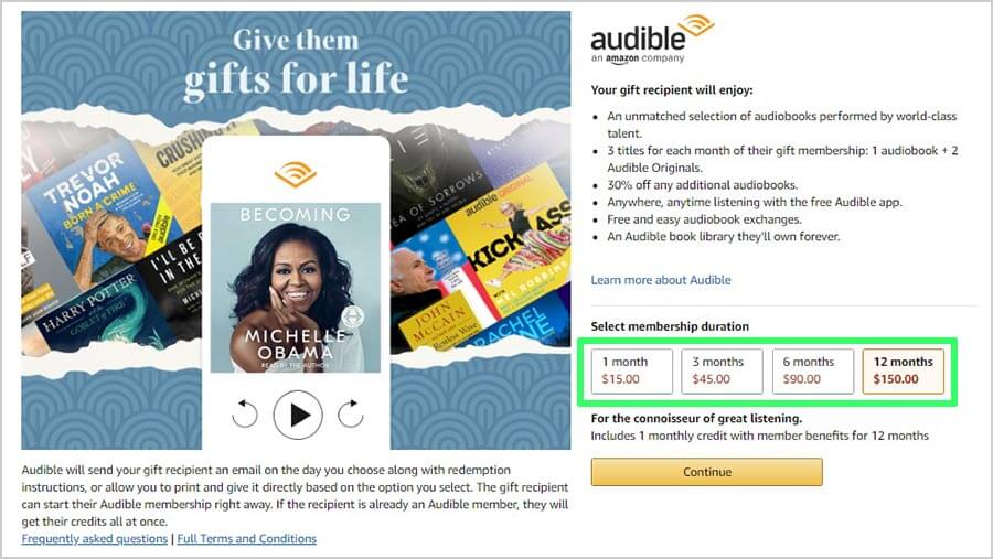 Audible Membership Gift Page