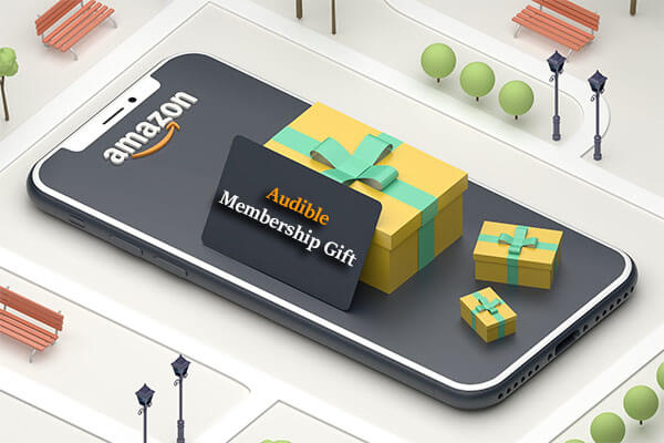How to Gift Audible Membership? Packed gift boxes, mobile