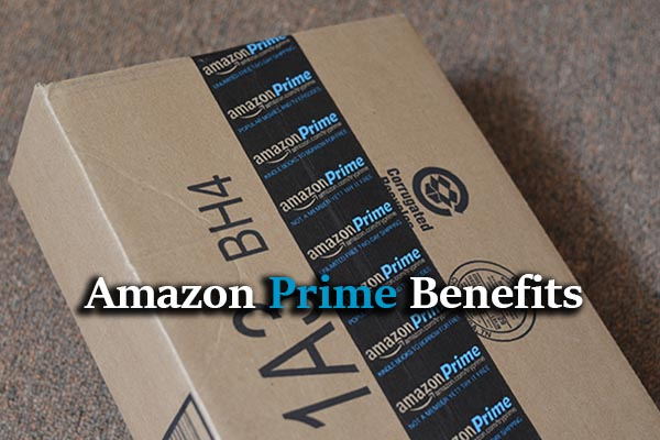 text: Amazon Prime Benefits, Amazon Prime carton