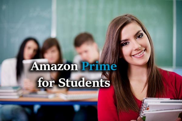 text: Amazon Prime for Students, A girl holding books