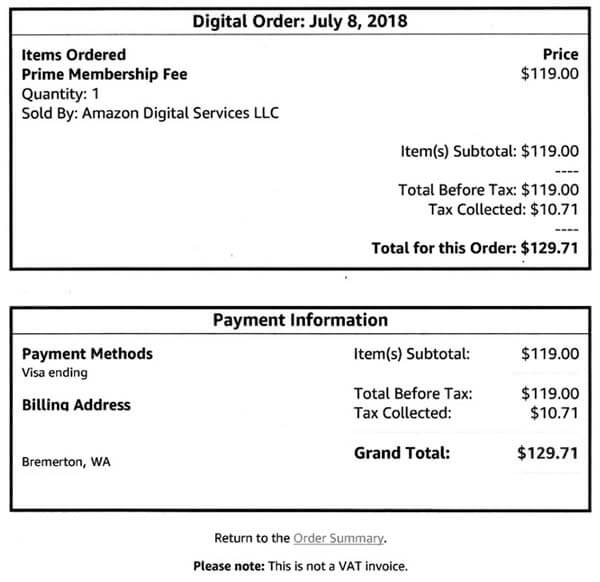 Tax on Amazon Prime Membership fee, Payment information