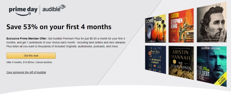 Amazon Prime Audible offer